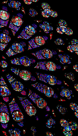 Rose window in the cathedral of Notre Dame in Paris, France.
