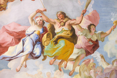 Fresco (1731) in the Church of Stift Melk in Lower Austria, with an allegorical representation of the Cardinal Virtue Fortitude