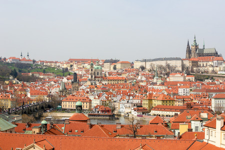 View on the historic center of Prague, Czech Republic, from the roof of the Clementinum. Stock Photo