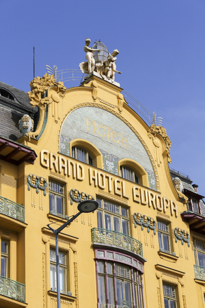 Grand Hotel Europa is a famous art nouveau style hotel on Wenceslas Square in the center of Prague, Czech Republic