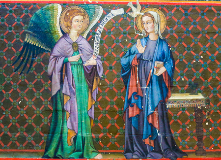 Mural fresco in the Cathedral of Bayeux, France, depicting the Annunciation with Mother Mary and the Archangel Gabriel