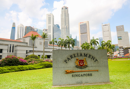 Central Area, Singapore - April 13, 2018: Singapore Parliament House in Downtown Core, Central Area in Singapore.