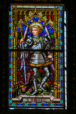 Stained Glass in Valencia Cathedral, Valencia, depicting the Archangel St Michael