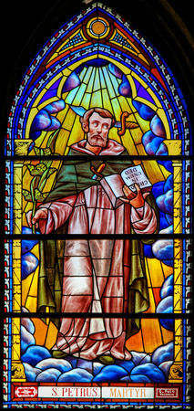 Stained Glass in the 13th Century Church of San Nicolas or Saint Nicholas in Valencia, depicting St Peter the Martyr