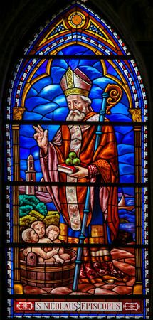 Stained Glass in the 13th Century Church of San Nicolas in Valencia, depicting Saint Nicholas of Bari