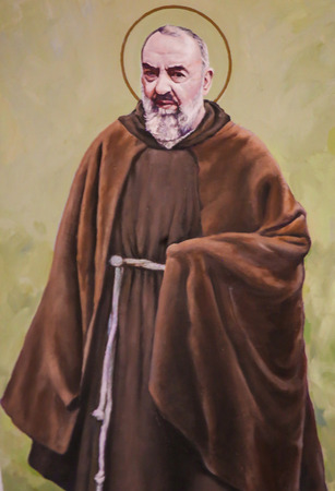 Fresco in the Church of Saint Nicholas in Valencia, Spain, of Padre Pio or Saint Pio of Pietrelcina, famous Italian friar, priest, stigmatist, and mystic.