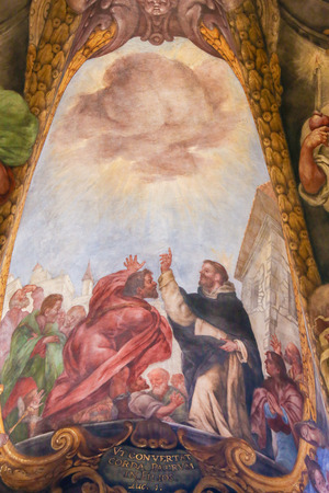 Baroque Fresco in Church of Saint Nicholas an Valencia, Spain, depicting St Peter Martyr or Peter of Verona miraculously procuring shade for his listeners