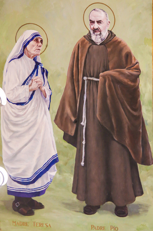 Fresco in the Church of Saint Nicholas in Valencia, Spain, of Padre Pio or Saint Pio of Pietrelcina and Mother Teresa or Saint Teresa of Calcutta Editorial