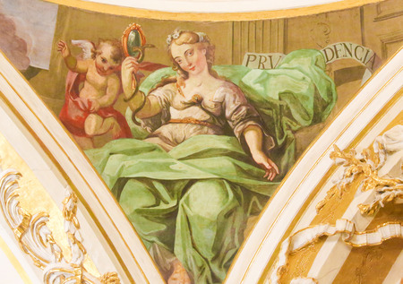 17th Century Fresco in the Church of Saint Nicholas and Saint Peter Martyr in Valencia, Spain, depicting the Cardinal Virtue Prudence Editorial