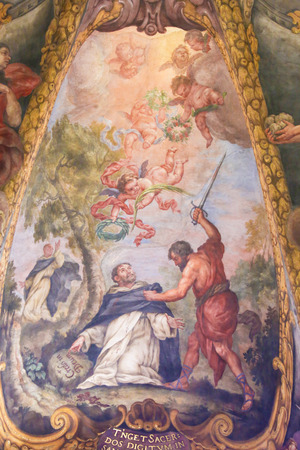 Baroque Fresco in Church of St Nicholas and Peter Martyr in Valencia, Spain, depicting the Assassination of St Peter Martyr or Peter of Verona by Carino of Balsamo