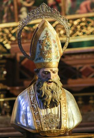Bust of Saint Nicholas of Bari in the Church of Saint Nicholas and Saint Peter Martyr in Valencia, Spain 新闻类图片