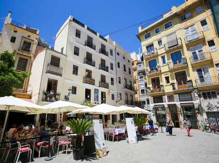 Terraces at restaurants at the Plaza Lope de Vega in the center of Valencia, Spain