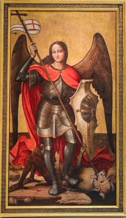 Medieval Painting in Valencia, Spain, depicting Saint Michael the Archangel slaying Satan