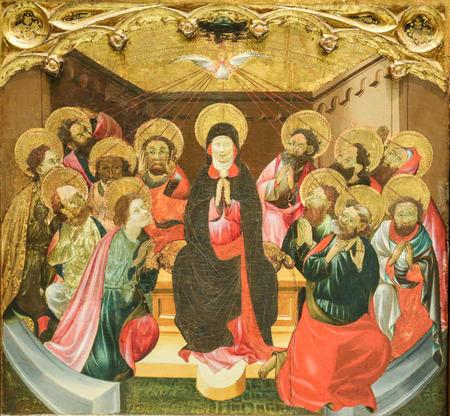 Mittelalterliches Retabel in Valencia, Spanien, Darstellung von Mutter Maria und den Aposteln zu Pfingsten