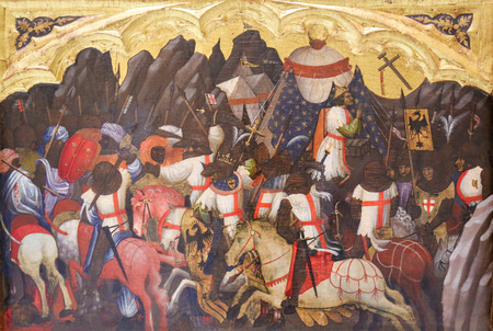 Medieval Painting depicting a Battle between Crusaders and Saracens, in Valencia, Spain Фото со стока - 111723429