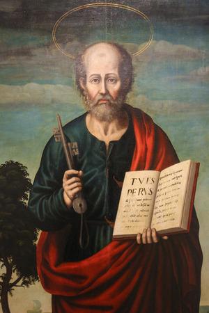 Gemälde des Heiligen Petrus, erster Bischof von Rom, in der Kirche von Valencia, Spanien. Editorial