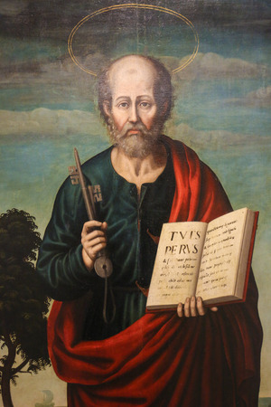 Painting of Saint Peter, first Bishop of Rome, in the Church of Valencia, Spain.