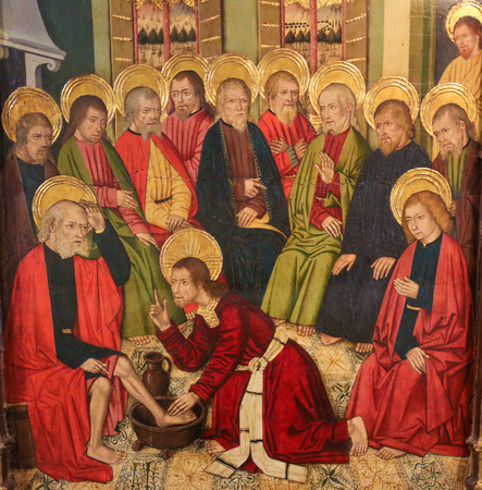 Painting of Jesus Christ washing the Feet of the Apostles at the Last Supper, in the Church of Valencia, Spain