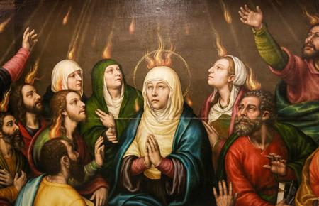 Dipinto di Madre Maria e gli Apostoli a Pentecoste, nella Chiesa di Valencia, Spagna