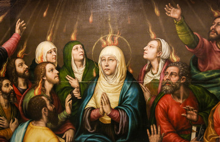 Painting of Mother Mary and the Apostles at Pentecost, in the Church of Valencia, Spain