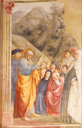 St Peter Preaching, by Masolino, famous Early Renaissance Fresco in the Brancacci Chapel of Florence, Italy