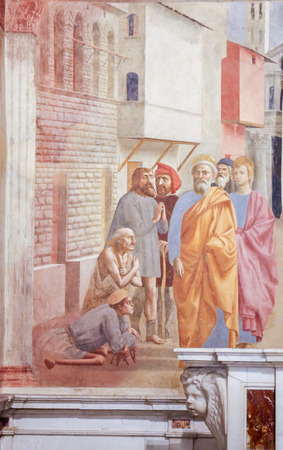 St Peter Healing the Sick with His Shadow, by Masaccio, famous Early Renaissance Fresco in the Brancacci Chapel in Florence, Italy