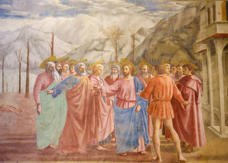 The Tribute Money, famous fresco by Masaccio in the Brancacci Chapel, the
