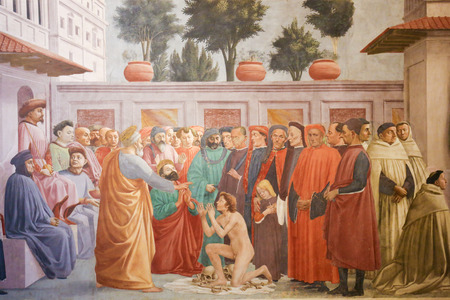 Raising of the Son of Theophilus, by Masaccio, famous Early Renaissance Fresco in the Brancacci Chapel in Florence, Italy Standard-Bild - 111725903