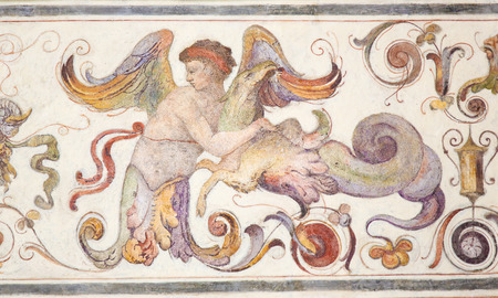 16th Century fresco in the Courtyard of the Palazzo Vecchio in Florence, Italy Standard-Bild - 111725943