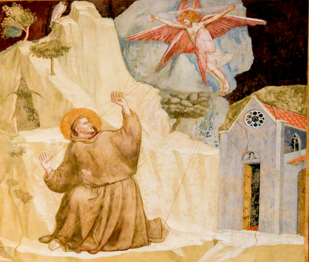 Famous Painting by Giotto of Saint Francis Receiving the Stigmata in the Bardi Chapel, Santa Croce Basilica, Florence, Italy Standard-Bild - 111725951