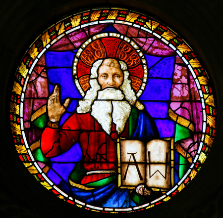 Stained Glass at the Basilica Santa Croce, Florence, Italy, depicting God the Father, by Baldovinetti