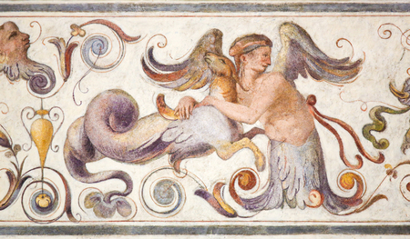 16th Century fresco in the Courtyard of the Palazzo Vecchio in Florence, Italy Standard-Bild - 111725965