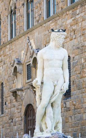 The Fountain of Neptune (Fontana del Nettuno) is a fountain in Florence, Italy, situated on the Piazza della Signoria. Standard-Bild - 111725974