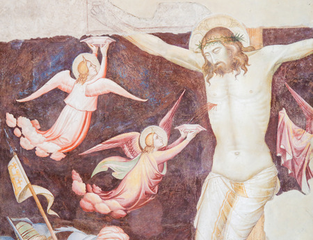Detail of a Medieval Fresco of the Crucifixion of Jesus Christ at the Basilica Santa Croce, Florence, Italy. Standard-Bild - 111725977