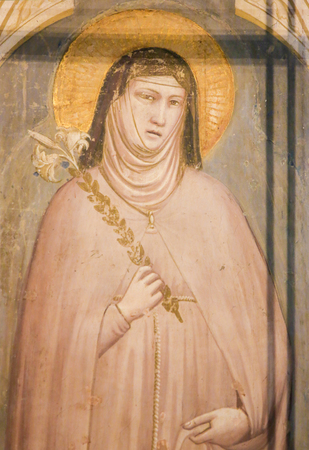 Fresco of Saint Clare at the Bardi Chapel in the Basilica Santa Croce, Florence, Italy. Standard-Bild - 111725978