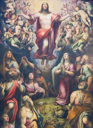 Ascension of Jesus Christ, 16th Century Painting by Giovanni Stradano at the Basilica Santa Croce, Florence, Italy.