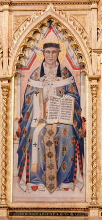 Detailliertes Gemälde von Papst Gregor I. oder Gregor dem Großen in der Basilika Santa Croce, Florenz, Italien.