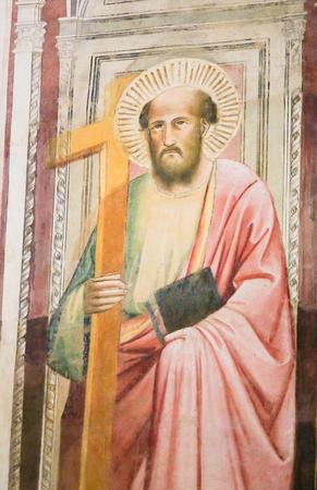 Fresco of Saint Mark the Evangelist at the Basilica Santa Croce, Florence, Italy.