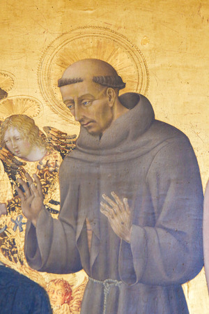 Painting in the Cathedral of Pienza, Italy, depicting Saint Francis