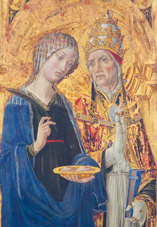 Painting in the Cathedral of Pienza, Italy, depicting a Pope and Saint Lucia Standard-Bild - 111810567
