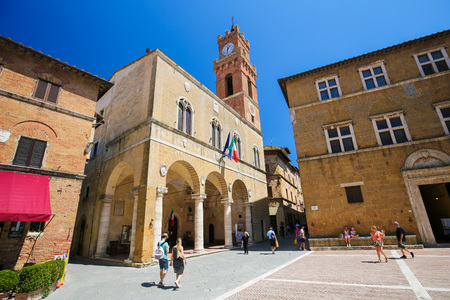 Town Hall at the Piazza Pio II in Pienza, Tuscany, Italy