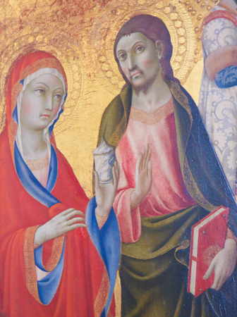 Painting in the Cathedral of Pienza, Italy, depicting Catholic Saints Standard-Bild - 111810575