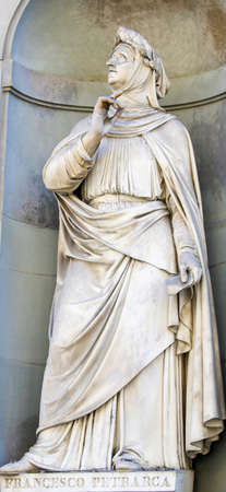 Statue of Francesco Petrarce or Petrarch in Florence, Italy. Petrarch was a famous scholar, poet and humanist.