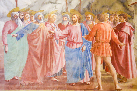 The Tribute Money, famous fresco by Masaccio in the Brancacci Chapel, the Sistine Chapel of the Early Renaissance in Florence, Tuscany, Italy