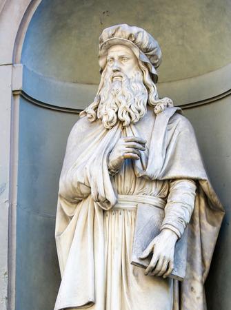 Statue of Leonardo da Vinci in Florence, Italy.