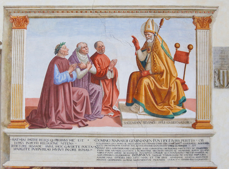 Fresco in the Church of Sant Agostino in San Gimignano, Tuscany, Italy, depicting People kneeling in front of a Bishop Standard-Bild - 111810660