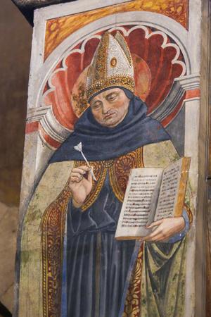 Renaissance Fresco depicting Saint Augustine in the Collegiata or Collegiate Church of San Gimignano, Italy. Standard-Bild - 111810665