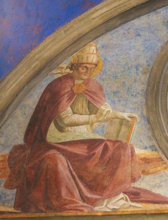 Renaissance Fresco depicting Pope Saint Gregory the Great in the Collegiata or Collegiate Church of San Gimignano, Italy. Standard-Bild - 111810668