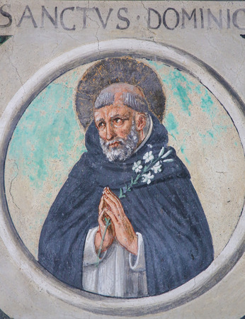 Fresco of Saint Dominic in the Church of Sant Agostino (St Augustine), one of the oldest churches of San Gimignano, Tuscany, Italy Standard-Bild - 111810669