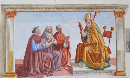 Fresco in the Church of Sant Agostino in San Gimignano, Tuscany, Italy, depicting People kneeling in front of a Bishop Standard-Bild - 111810674